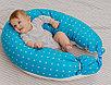 Подушка для беременных Roxy Kids наполнитель холлофайбер Голубая c белыми перышками, фото 8