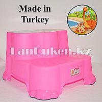 """Табурет-подставка (ступенька) детская двухуровневая """"Динозаврики"""" розовая"""