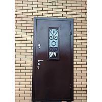Дверь стальная металл с двух сторон со стеклопакетом и ковкой
