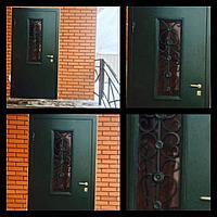 Дверь стальная со стеклопакетом и ковкой