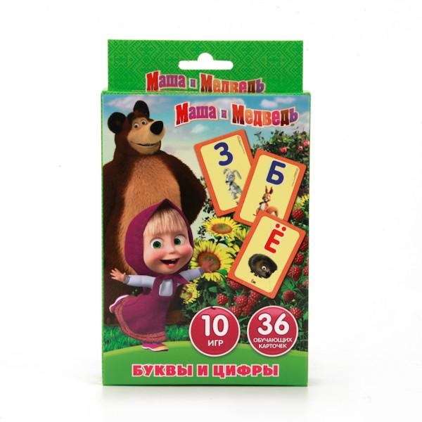 """Карточки развивающие """"Маша и Медведь.Учим алфавит и цифры"""" 36 карточек"""
