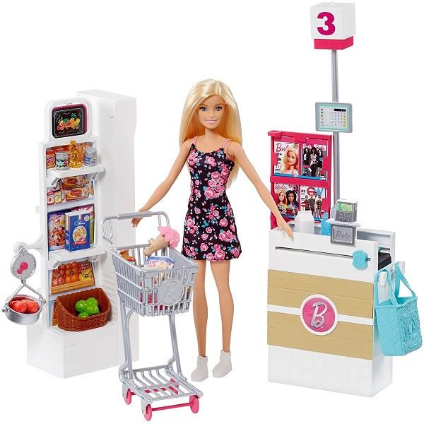 """Barbie Игровой набор """"Супермаркет"""" с куколкой Барби"""