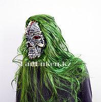 Латексная маска на хэллоуин череп с кровавыми трещинами (зеленые волосы) 013