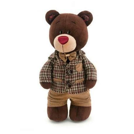 Мягкая игрушка медведь Choco в клетчатом пиджаке, 30 см.