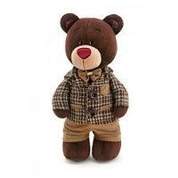 Мягкая игрушка медведь Choco в клетчатом пиджаке, 25 см.
