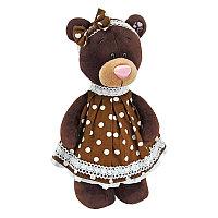 Мягкая игрушка медведь Milk в платье в горох, 30 см.