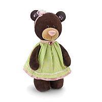 Мягкая игрушка медведь Milk в платье в клеточку, 30 см.
