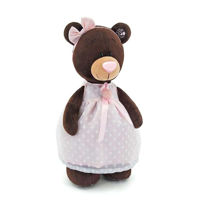 Мягкая игрушка медведь Milk в платье с брошью, 30 см.