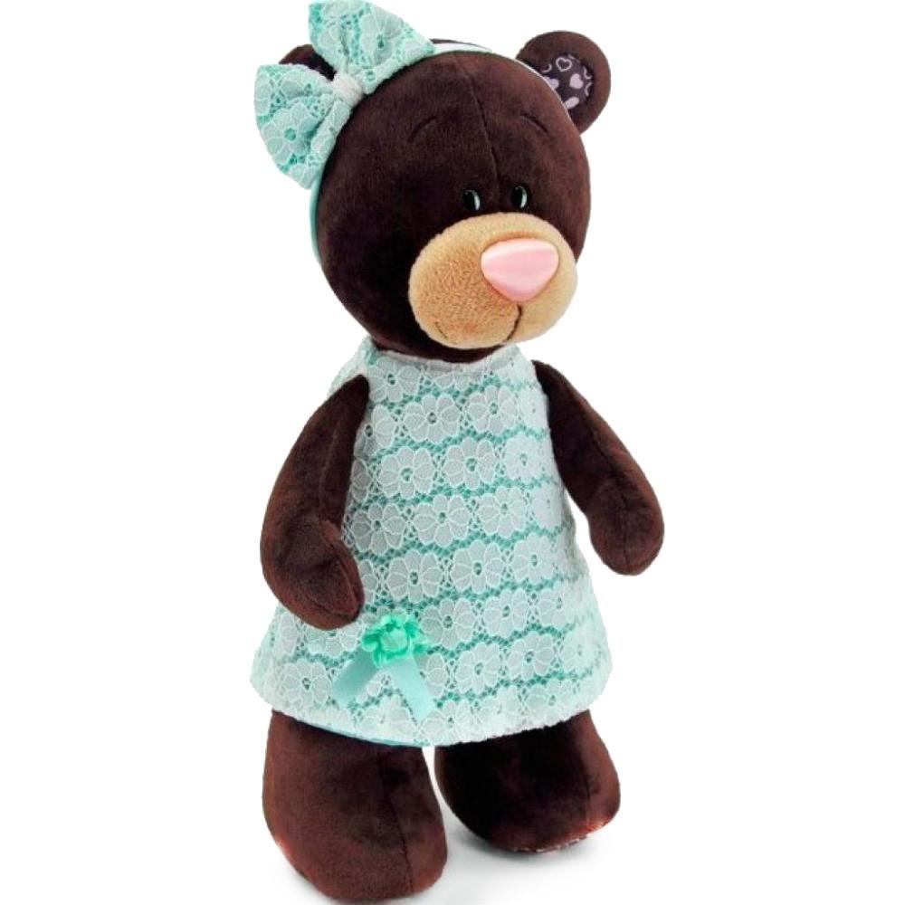 Мягкая игрушка медведь Milk в платье цвета мяты, 30 см.
