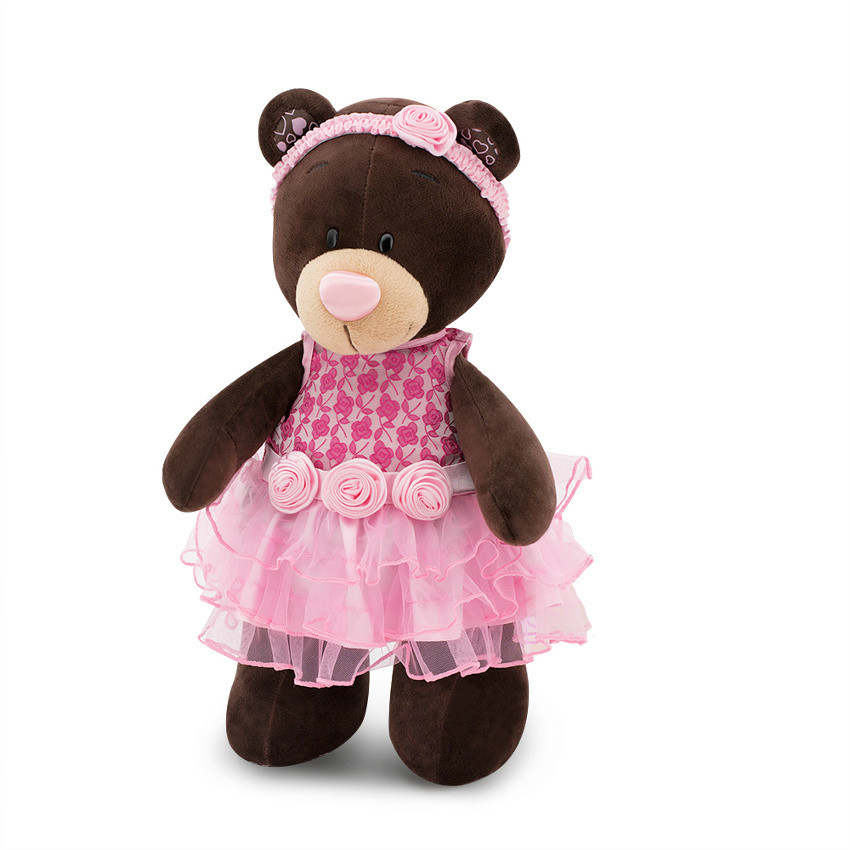 Мягкая игрушка медведь Milk Розовый букет, 30 см.
