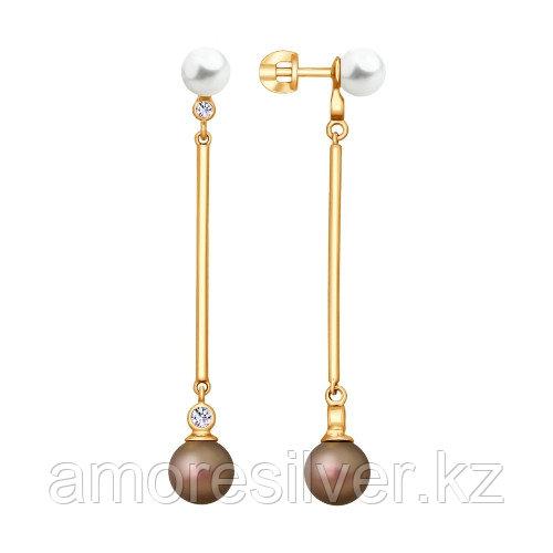 Серьги SOKOLOV серебро с позолотой, жемчуг фианит 93020886