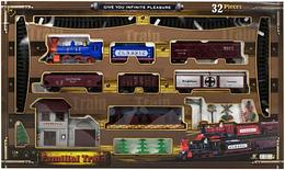 Игрушечная железная дорога - Паровоз 3 ваг.,деревья,станция, ВОХ Familial Train Western ChooChoo