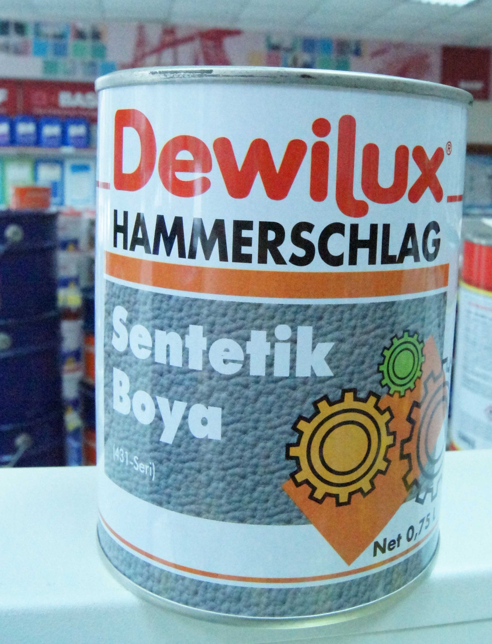 DEWILUX молотковая эмаль 4035, синяя, 0,75 л