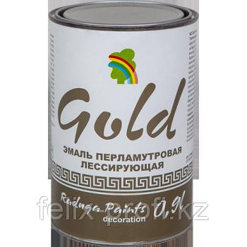 """ЭМАЛЬ """"РАДУГА-117"""" ДЕКОРАТИВНАЯ «ПЕРЛАМУТР» 0,9 л Золото"""