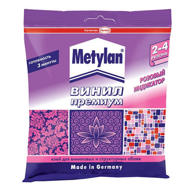METYLAN Винил ПРЕМИУМ Обойный клей с розовым индикатором для всех видов виниловых обоев, 150 г