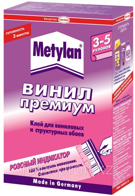 METYLAN Винил ПРЕМИУМ Обойный клей с розовым индикатором для всех видов виниловых обоев, 500 г