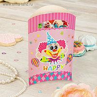 """Пакет подарочный 14*24 см """"Клоун"""" розовый цвет (набор 6 шт)"""