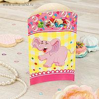 """Пакет подарочный 14*24 см """"Слоник"""" розовый цвет (набор 6 шт)"""
