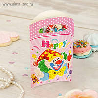 """Пакет подарочный 14*24 см """"Клоун"""" со свечой, розовый цвет (набор 6 шт)"""