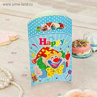 """Пакет подарочный 14*24 см """"Клоун"""" со свечой, голубой цвет (набор 6 шт)"""