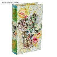 """Сейф-книга дерево """"Слон"""" шёлк, стразы 21х13х5 см"""