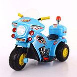 Детский электромотоцикл 991 Полиция, голубой, фото 2