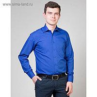 Сорочка мужская normal fit,, цвет синий, р-р 56, об.шеи 44, рост 170-176 см