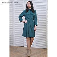 Платье-рубашка женское, размер 44, рост 164 см, цвет зелёный
