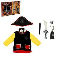 Набор пирата: жилет, шляпа, наглазник, крюк, подзорная труба, сабля