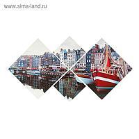 """Модульная картина на подрамнике """"Прибрежный городок"""", 70×135 см"""