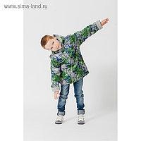 Куртка для мальчика, рост 134 см, цвет серый/зелёный КМ-10/8