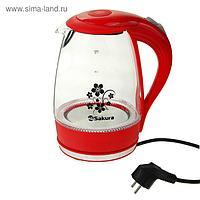 Чайник электрический Sakura SA-2710R, 1850-2200 Вт, 1.7 л, подсветка, красный