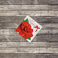 Мини открытка «Поздравляю», красная роза, 7 х 7 см
