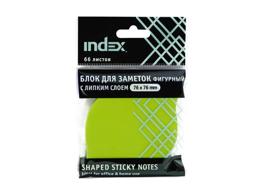 """Клейкие листики INDEX """"Листок"""" 76 x 76 мм, зеленые, 66 листов"""