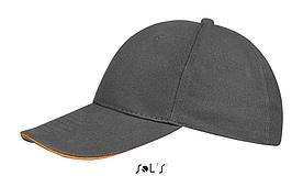Бейсболка Buffalo | Sols | Dark grey / Orange