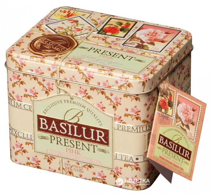 Чай зелёный рассыпной Caddy Подарок - Розовый Present - Pink, 100гр Basilur