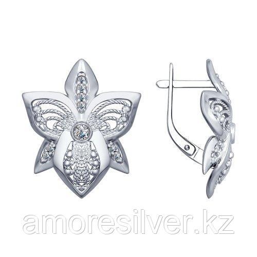 Серьги из серебра с фианитом   SOKOLOV 94022424