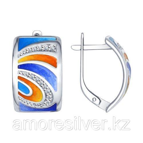 Серьги из серебра с фианитом и эмалью   SOKOLOV 94022372