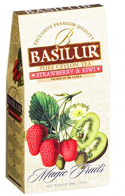 Чай чёрный рассыпной Волшебные фрукты Клубника и киви Strawberry and Kiwi, 100гр Basilur