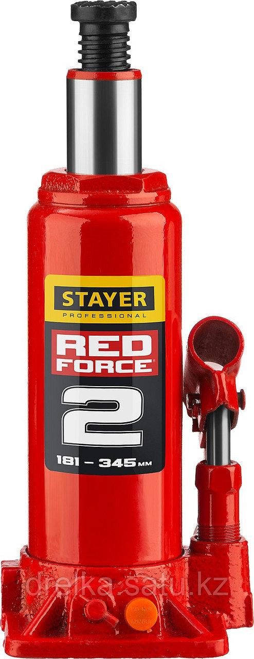 """Домкрат гидравлический бутылочный """"RED FORCE"""", 2т, 181-345 мм, в кейсе, STAYER"""