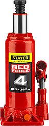 "Домкрат гидравлический бутылочный ""RED FORCE"", 4т, 195-380 мм, STAYER"