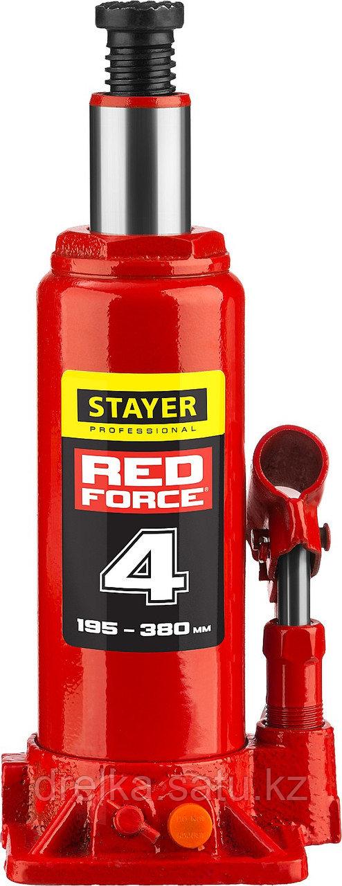 """Домкрат гидравлический бутылочный """"RED FORCE"""", 4т, 195-380 мм, в кейсе, STAYER"""