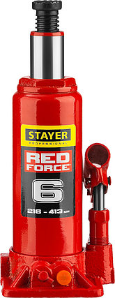 "Домкрат гидравлический бутылочный ""RED FORCE"", 6т, 216-413 мм, STAYER , фото 2"