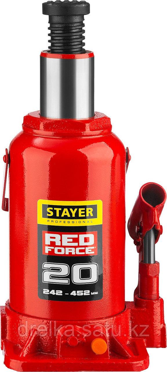 "Домкрат гидравлический бутылочный ""RED FORCE"", 20т, 242-452 мм, STAYER"