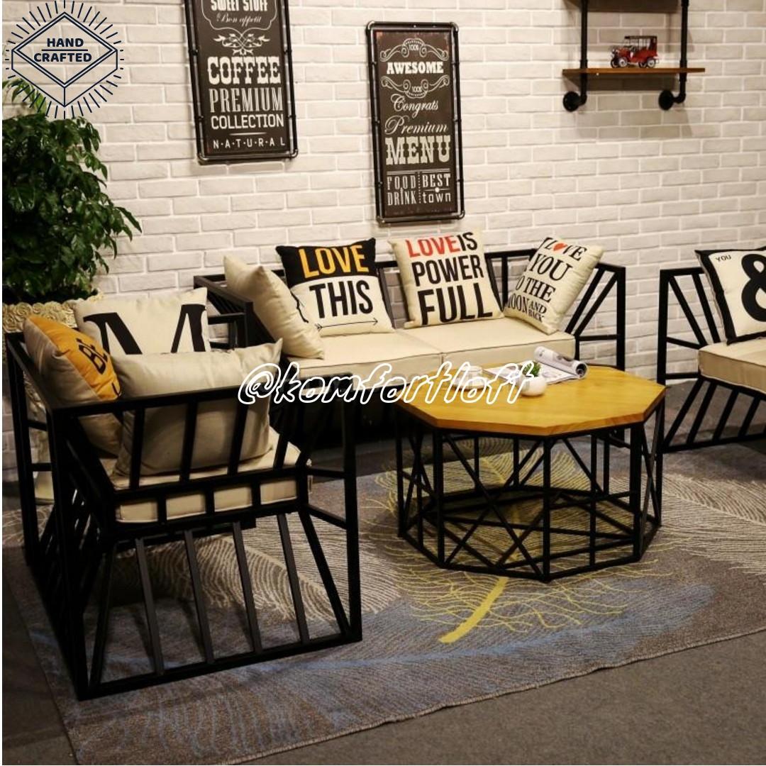 Комплект мебели на металлическом каркасе (Лофт)