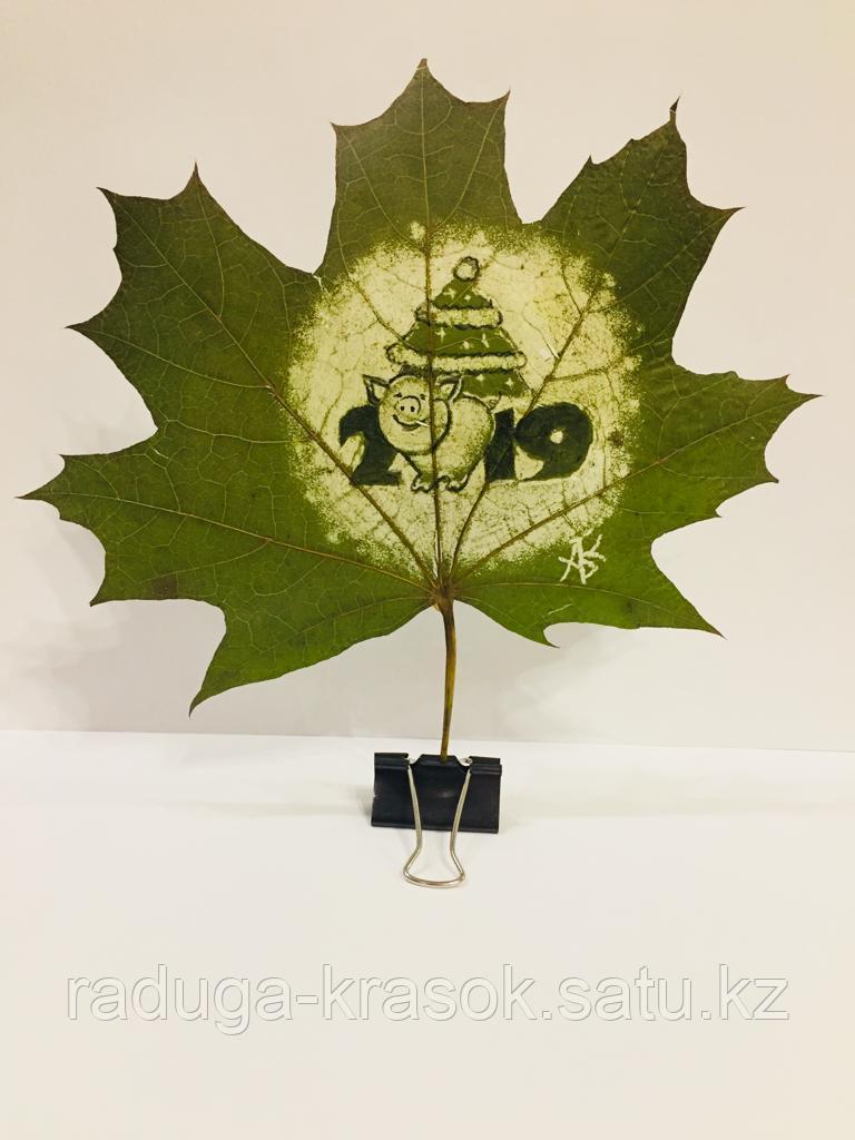 Открытки на натуральных листьях клена. 21*30