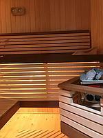 """Сборная финская сауна в пентхаусе. Индивидуальное изготовление. Размер = 2,3 х 2,1 х 2,2 м. Адрес: г. Алматы, г.к. """"Жайляу"""". 11"""
