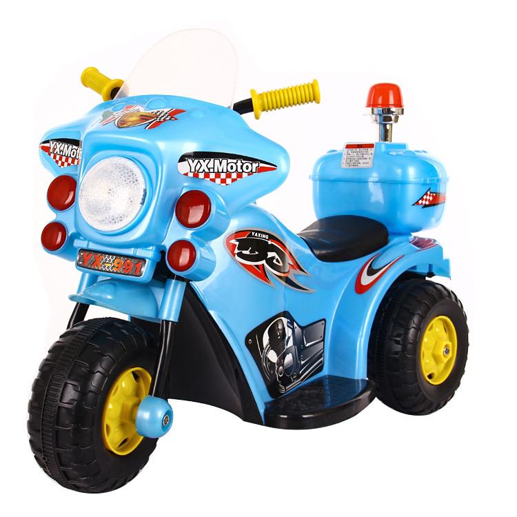 Детский электромотоцикл 991 Полиция, голубой