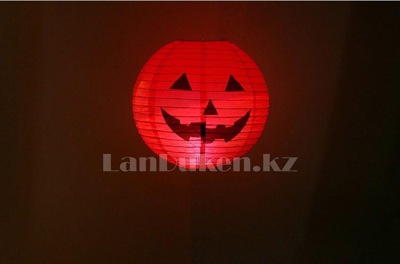 Бумажный подвесной фонарь на Хэллоуин в виде тыквы складной (маленький 20 см) - фото 6