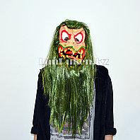 Латексная маска на хэллоуин зеленый демон 020